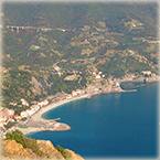 View of Monterosso from the trail to Punta Mesco and Levanto - Cinque Terre Liguria Italy
